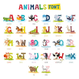 Illustration of cartoon animals font