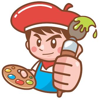 Illustration of cartoon artist boy