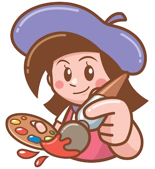 Illustration of cartoon artist girl