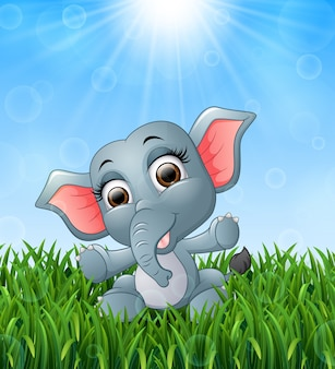 Illustration of cartoon baby elephant sitting in the grass on a background of brigh