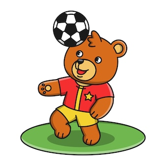 Illustration of cartoon bear playing soccer