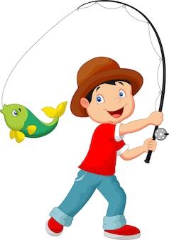 Illustration of cartoon boy fishing