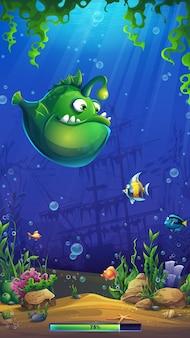 コンピュータゲームへのイラスト漫画明るい水中ローディングフィールド