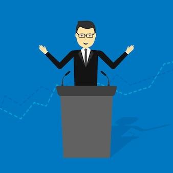Illustration of cartoon businessman talking on podium