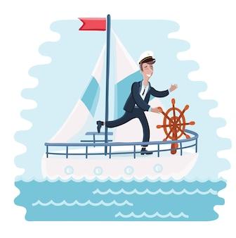 Illustration of cartoon captain spinning wheel steers