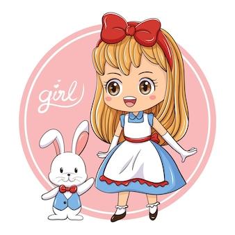 Illustration of cartoon character cute girl