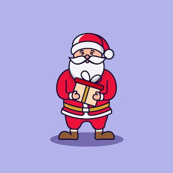 Illustration cartoon character santa claus bring gift box delivery on christmas night vector graphic