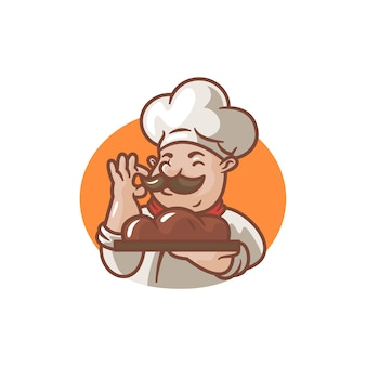 Illustration of cartoon chef with his bread