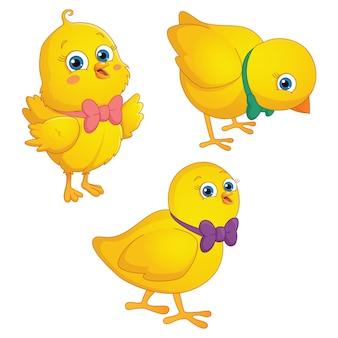 Illustration of cartoon chicks
