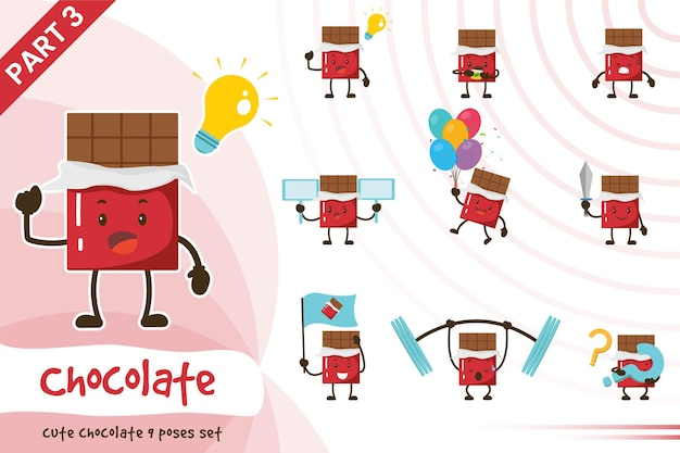 Illustration of cartoon chocolate poses set.