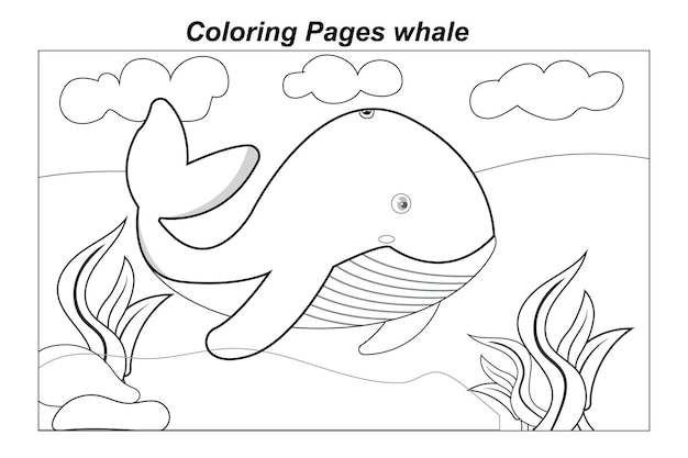 Illustration in a cartoon coloring pages marine wild animals ittle cute baby dolphin underwater