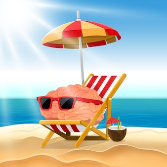 Illustration cartoon concept brain relax on the beach.  illustrate.