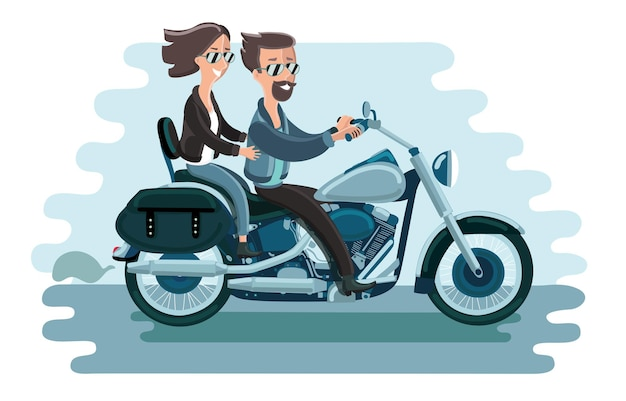 Illustration of cartoon couple bikers riding a motorcycle