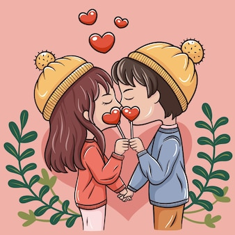 Illustration of cartoon couple in valentine's day