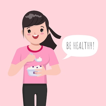 Illustration of cartoon cute girl eating yogurt for healthy