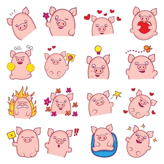 Illustration of cartoon cute pig set