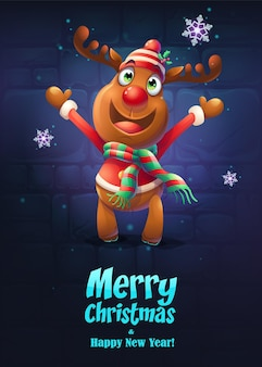 Иллюстрация мультфильм олень открытка с рождеством