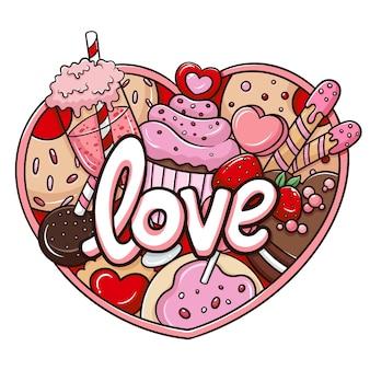 Illustration of cartoon doodle valentine party