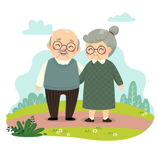 Illustration cartoon of elderly couple standing and holding hands in the park. happy grandparents day concept.