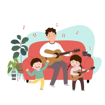 Illustration of a cartoon father playing guitar and singing with his children at home. family enjoying time at home concept.