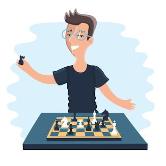 Illustration of cartoon funny chessplayer player play chess