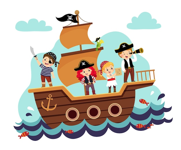 Illustration cartoon of kids pirates on the ship at the sea.