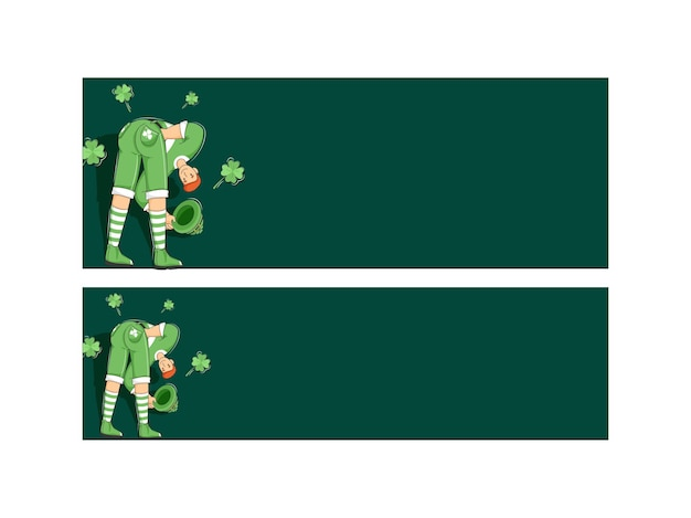 Illustration of cartoon leprechaun man with clover leaves and space for text