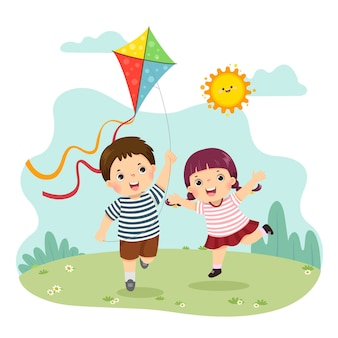 Illustration cartoon of a little boy and girl flying the kite. siblings playing together.