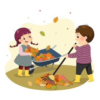 Illustration cartoon of a little boy and girl raking the leaves. kids doing housework chores at home concept.