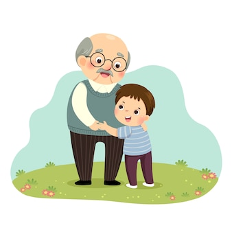 Illustration cartoon of a little boy hugging his grandfather in the park.
