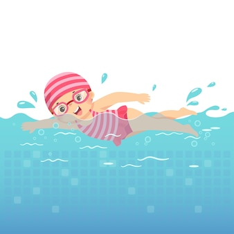 Illustration cartoon of little girl in pink swimsuit swimming in the pool.