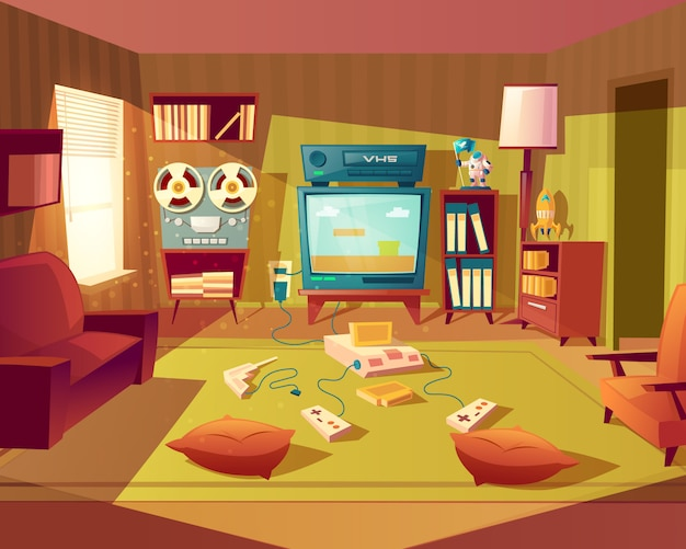 Illustration of cartoon living room at 80s, 90s. video games, vhs recorder for children.
