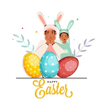 Illustration of cartoon man with his son wearing rabbit costume, eggs and leaves on white background for happy easter concept.