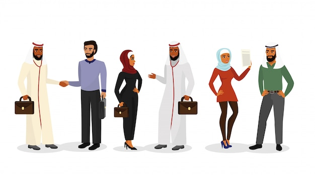Illustration of cartoon  men, women in different clothes and characters