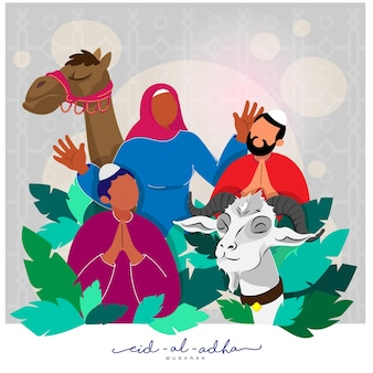 Illustration of cartoon muslim people with goat, camel animal and green leaves on gray islamic pattern background for eid-al-adha mubarak.