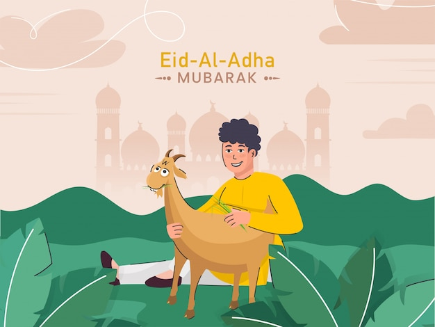 Illustration of cartoon muslim young boy holding a goat on green nature and light peach mosque background for eid-al-adha mubarak concept.