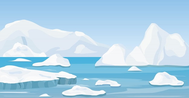 Illustration of cartoon nature winter arctic landscape with iceberg, blue pure water and snow hills, mountains.