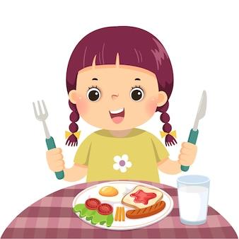 Иллюстрация мультфильм маленькая девочка завтракает.