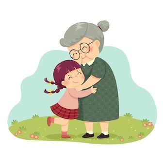 Иллюстрация мультфильм маленькая девочка обнимает бабушку в парке.