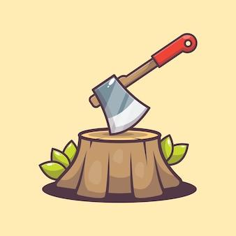 Иллюстрация мультфильм топор и дерево