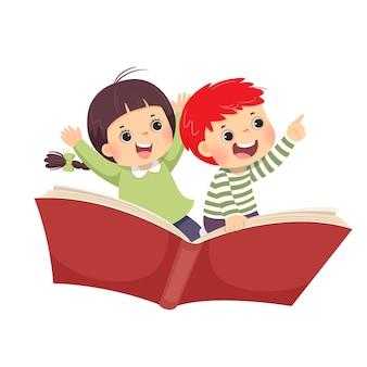 흰색 바탕에 책에 비행하는 행복 한 아이의 그림 만화.