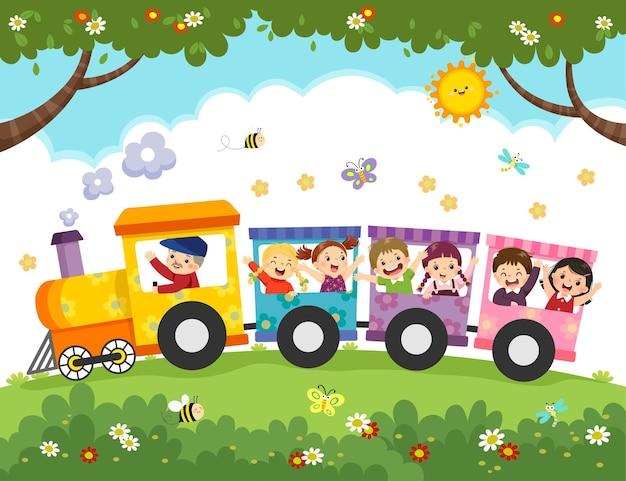 電車で幸せな子供たちのイラスト漫画。
