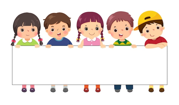 空白の看板バナーの後ろに立っている子供たちのイラスト漫画。広告用のテンプレート。
