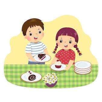 Иллюстрация мультфильм маленьких братьев и сестер, сервирующих на стол. дети делают работу по дому в домашней концепции.