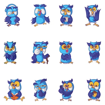 Illustration of cartoon owl set