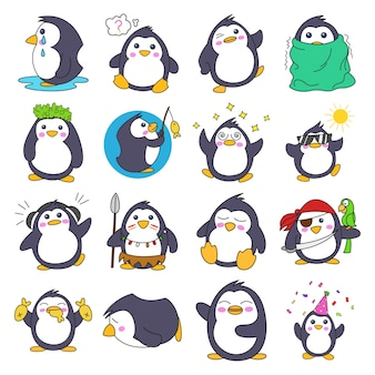 Illustration of cartoon penguin set