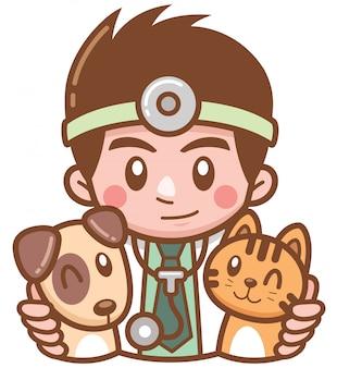 Illustration of cartoon pet doctor