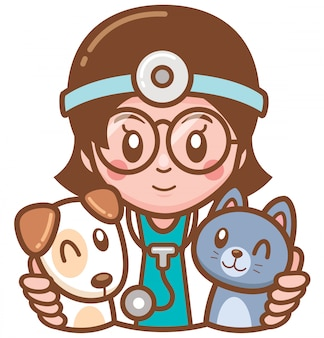 Illustration of cartoon pet doctor