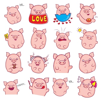 Illustration of cartoon pig set