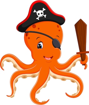 Illustration of cartoon pirate octopus